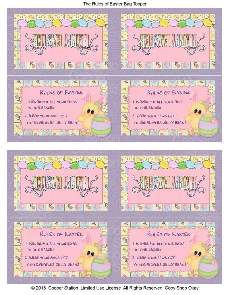Digital Printable Easter Bag Topper Rules of Easter