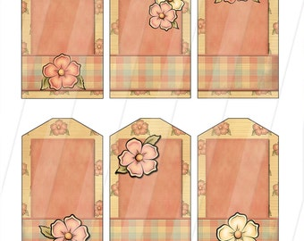 DIY  Digital Gift Tags in Floral and Gingham