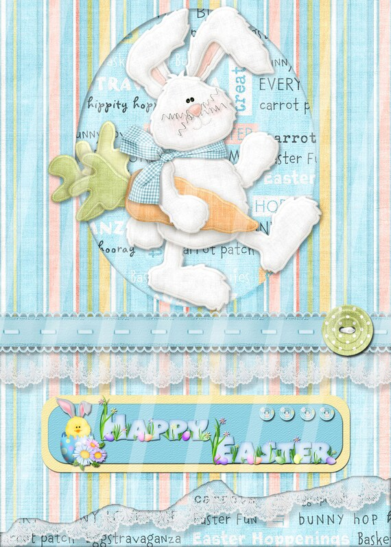 Digital Printable Easter Greeting Card 5 X 7 - DIY Bunny Greeting Card