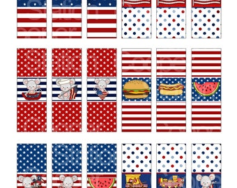Digital Printable Hershey Nugget - July 4th Candy Wrappers- Red - White - Blue - Independence Day - Chocolate Wrapper