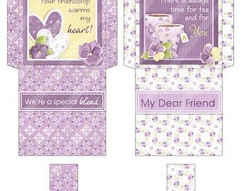 Printable Digital Tea Bag Wrapper, Tea Bag Envelope, Dear Friend