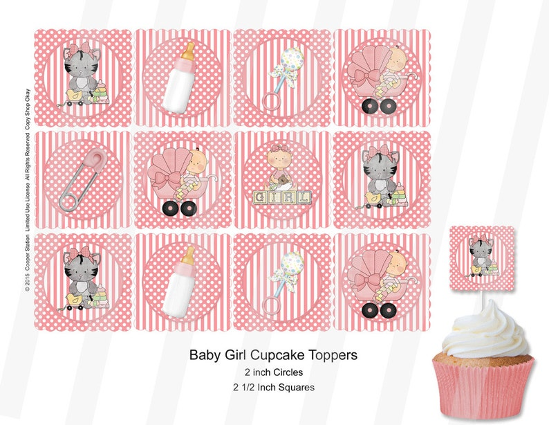 Printable Baby Girl Cupcake Toppers