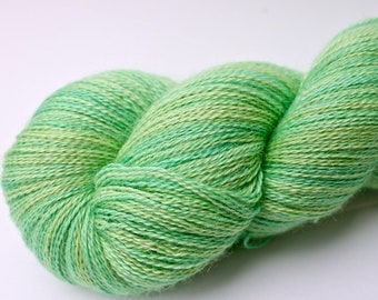 """Kettle Dyed Lace Yarn, Baby Alpaca, Silk, and Cashmere Lace Weight, in """"Sprout"""""""
