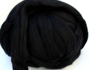 Ashland Bay Black Merino, 21.5 micron combed top, 4 ounces