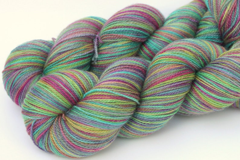 Kettle Dyed Lace Yarn Merino and Silk Lace Weight in Giverny