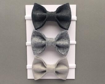 Grey Baby Headband Set, Baby Headbands, Newborn Headband, Baby Bows, Newborn Hair Bows, Girls Hair Clips, Felt Bow, Grey Headbands, Bow Set