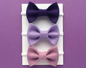Ombre Baby Headband Set, Baby Girl Headband, Newborn Headband, Baby Bow, Purple Headband, Felt Bow Headband, Baby Hair Bows, Girls Hair Clip