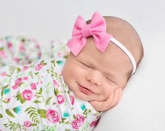 Newborn Bows, Sailor Bow, Baby Headbands, Baby Girl Headband, Newborn Headband, Felt Bows, Hair Bows, Hair Clips, Baby Girl, Girls Bows