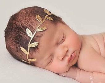 Silver/Gold Newborn Tieback, Newborn Headband, Photo Prop, Newborn Head Wrap, Baby Headband, Newborn Prop, Tieback Headband, Halo Headband