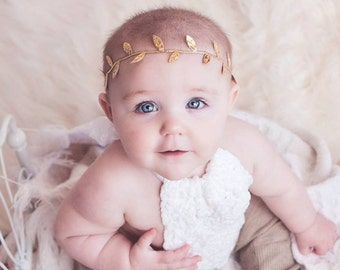 Girls Gold Headband, Leaf Headband, Flower Crown, Baby Headband, Baby Girl, Newborn Baby, Boho Headband, Silver Headband, Infant, Toddler