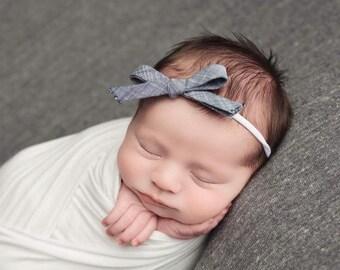 Baby Headband, Baby Girl Headbands, School Girl Bow, Denim Bow, Newborn Headband, Baby Headband, Girls Headband, Bow Headband, Infant
