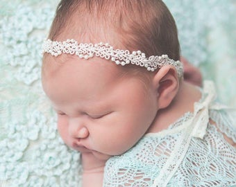 Baby Headband, Baby Girl Headband, Newborn Headband, Baptism Headband, Christening Headband, Lace Headband, Newborn Prop, White Headband