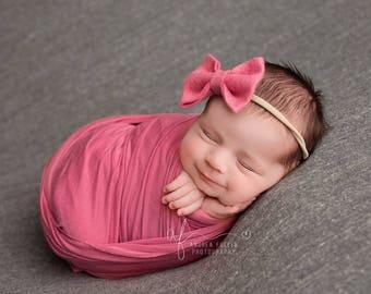 Baby Bows, Baby Headband, Baby Girl Headband, Newborn Headband, Girls Hair Bows, Felt Headband, Pink Bow Headband, Felt Bows, Baby Girl, Bow