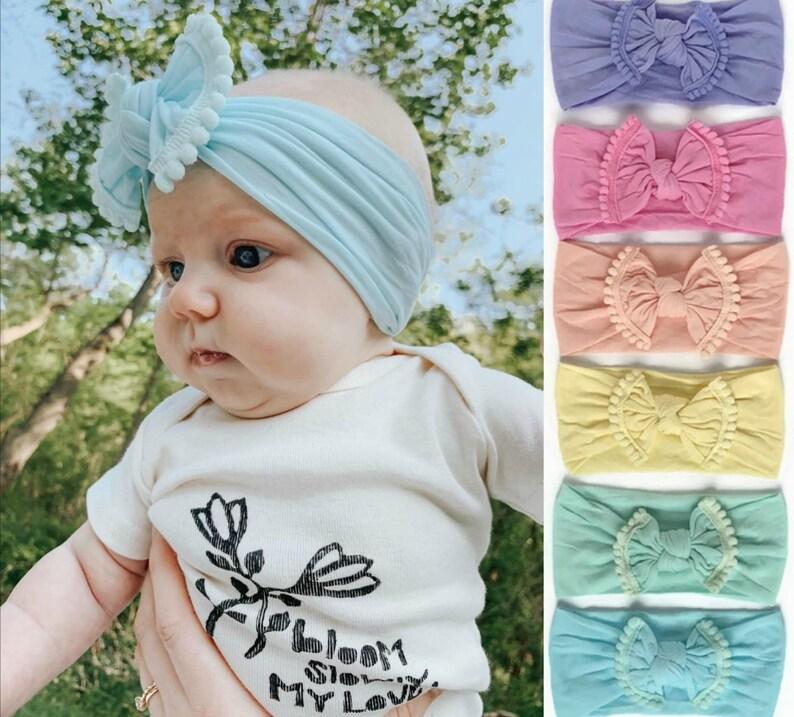 Turban Bow Headband Knot Bow Headband Baby Bows Newborn image 0