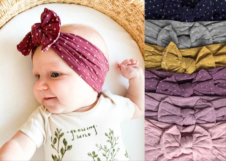 Nylon Baby Headbands classic knot bow Stretch soft nylon image 0