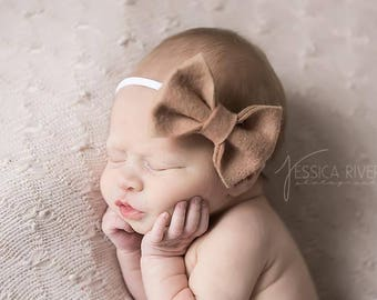 Baby Headband, Baby Bows, Fall Headbands, Newborn Headband, Baby Hair Bows, Baby Girl Headband, Newborn Girl Headband, Wool Felt Bows
