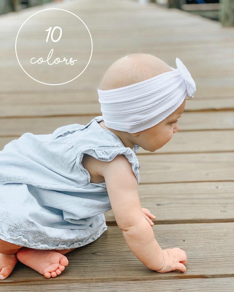 Wide Bow Headband Baby Girl Bows White Bow Nylon Bow image 0