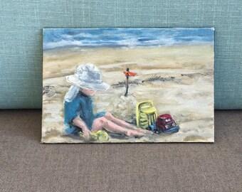 Little Builder - Oil Painting Original Miniature on canvas panel 4x6