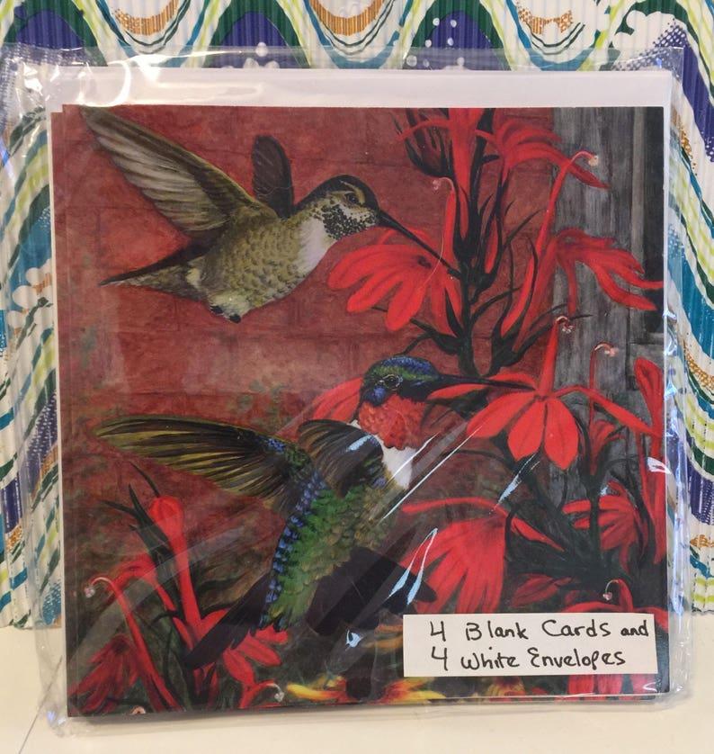 Hummingbird Summer blank Notecards SET of 4 Cards SAME DESIGN image 0