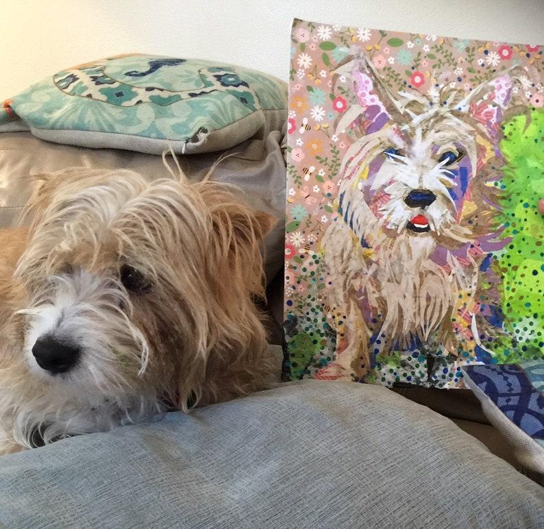 Mixed Media PET Portrait Illustration Painting Original on image 0