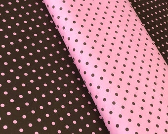 37f513e2368532 Pink brown polka dot fabric, cotton fabric, by the yard, brown dots on pink,  pink dots on brown, quilting cotton fabric