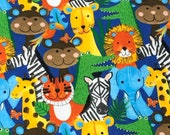 Jungle animals, Zebra elephant lion Zoo animal Square Flannel Fabric Multi Patchwork Animal Squares, By the yard, 100 Cotton Flannel