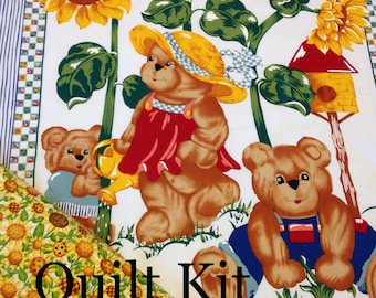 ff861bc87 Teddy bear sunflower QUILT KIT, yellow blue green, baby quilt kit, checks,  striped, top back and binding included, easy for beginner