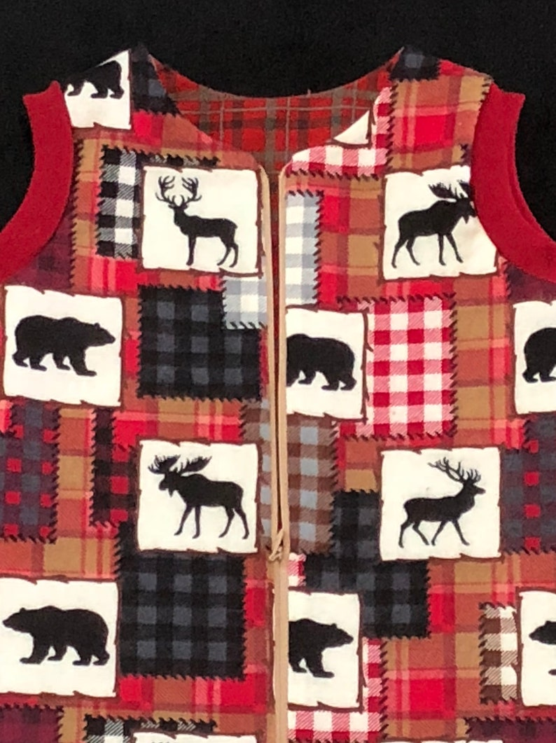 warm 2 layers zipper Woodland Bear Plaid Flannel Sleep safe sack wearable Buffalo Check Moose baby blanket slumber red beige black bag