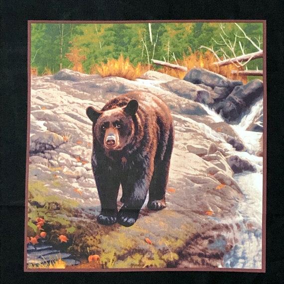 Bear Leaf  Wildlife Quilt Block Square Pillow Sew Cotton Fabric Panel
