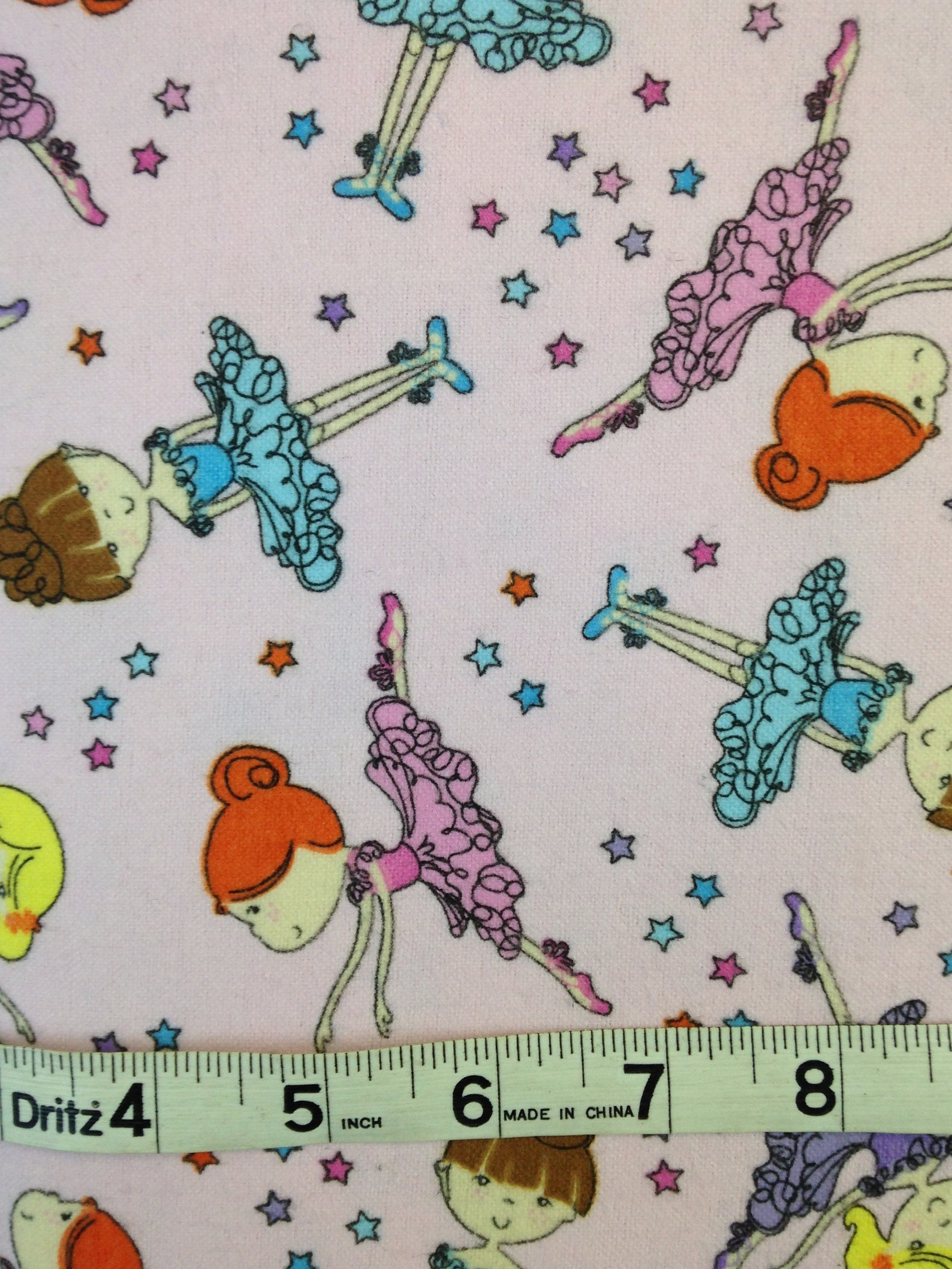 dancing ballerina girl, stars, ballet shoes, purple pink flannel, dancing fairy fabric, little girl fabric