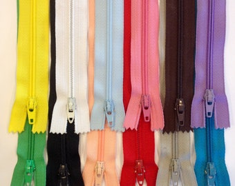 """Bulk zippers 7"""", 9"""", 12"""", 14"""" bundle of 12,  Ziplon YKK coil zippers, variety of colors, nylon coil, below whole sale prices, priced to sell"""