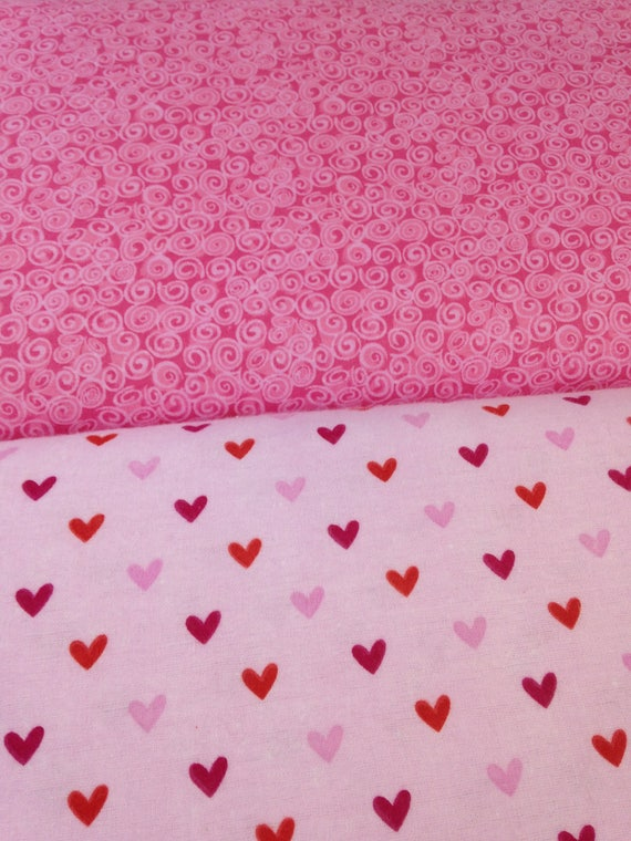 Hearts On Pink Flannel Valentine Fabric From Riley Blake Etsy