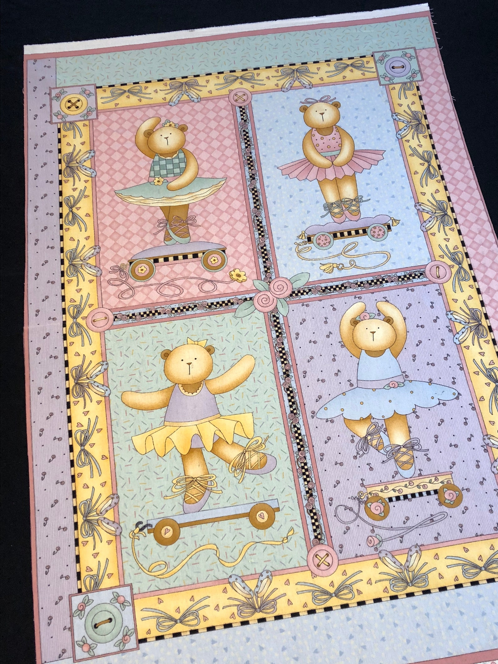 quilt kit ballerina dancing girl bears, top back and binding, ballet dancing, teddy bears bows buttons, baby girl blanket, pink