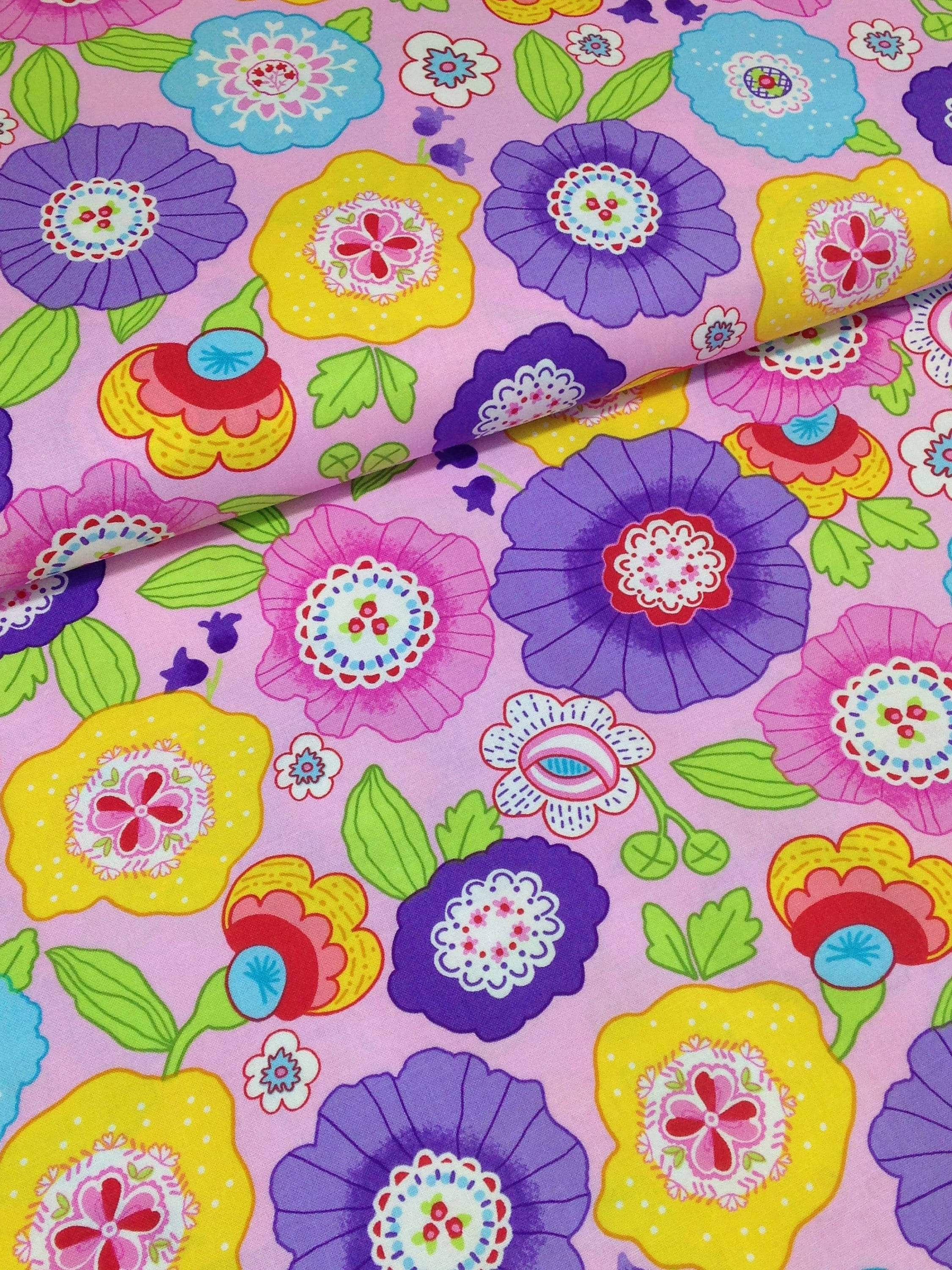Flower Garden Fabric Floral Cotton Colorful Spring Time Etsy