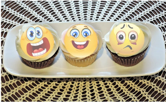 Smiley Face Emoji Wafer Paper Toppers 1.5 Inch for Decorating Desserts Cupcakes Birthday Cakes Cookies Pack of 12