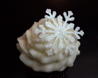 Edible Snowflakes 24 Assorted white Glitter