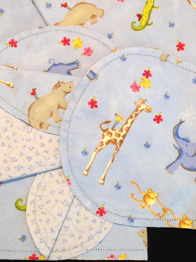 crochet baby flannel 2 burp cloths blue  red yellow double side elephant Hemstitch jungle zoo animal Receiving blanket monkey giraffe