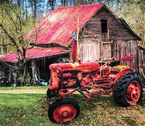 International Harvester Farmall Tractor Farm Barn Shed Cotton Fabric By The Yard