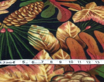 Fall leaves, pine cone fleece fabric, sale discount, Autumn leaves green rust Thanksgiving fleece 60 inches wide anti pill, sold by the yard