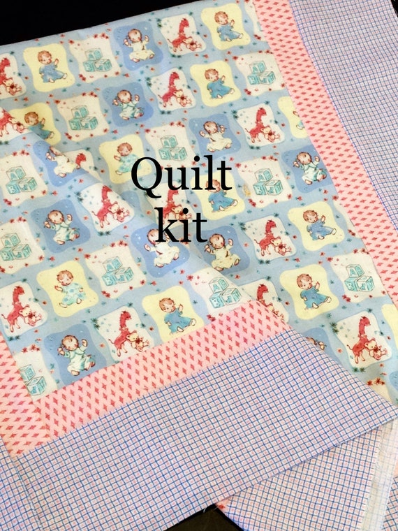 Baby Crib Pre Cut Quilt Kit Top Babies Giraffe Teddy Bear Etsy