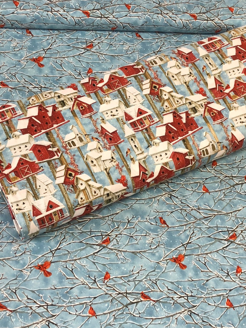 Christmas Birdhouses Crafts.Cardinal Bird Winter Birdhouses Fabric Blue Red White Snowy Holiday Christmas Cotton Fabric By Henry Glass Quilting Crafts Sold By Yard