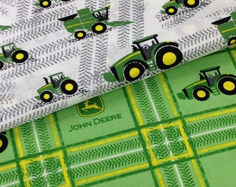 Tractor John Deere broadcloth, tractor tire marks, combined tractor, harvest, white green yellow Fabric by the yard