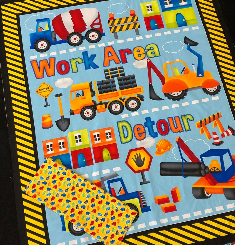 Construction QUILT KIT Baby boy fabric, equipment top panel, back & binding  My Favorite Trucks by Henry Glass, backhoe, loader, cement truck