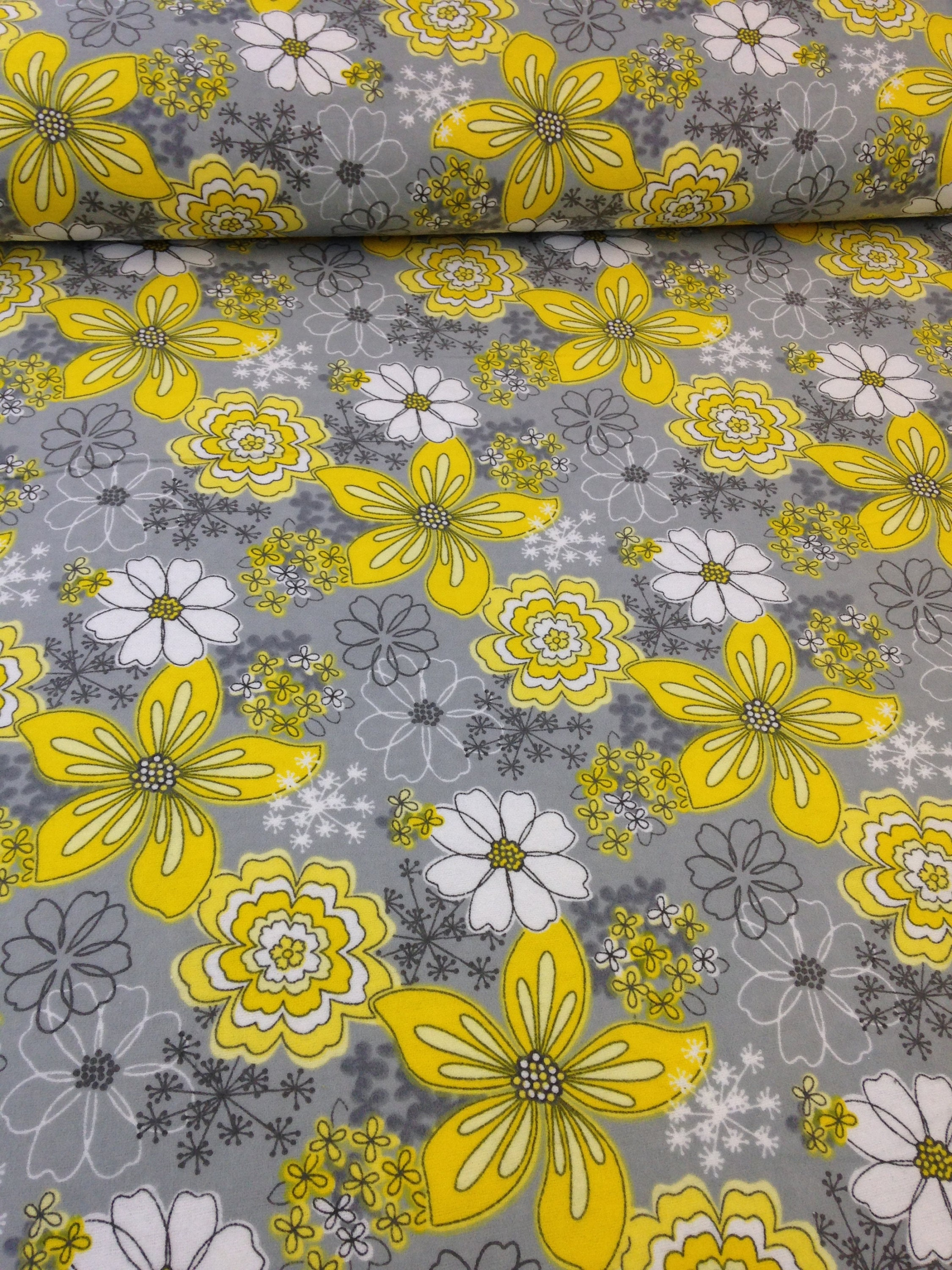yellow gray white flower fabric white daisy camelot fabric etsy. Black Bedroom Furniture Sets. Home Design Ideas