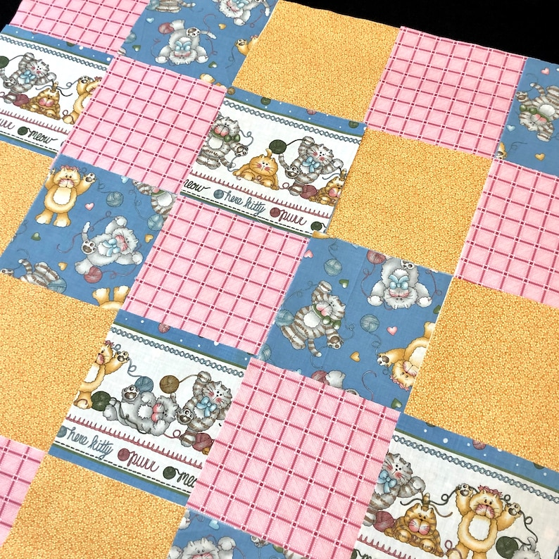 Baby Quilt Blocks.50 Kitten Pre Cut Quilt Blocks 8 Squares Baby Quilt Kit Kitty Cat Fabric Ball Of Yarn Mouse Blue Gold Pink Calico Tabby Cat Fabric