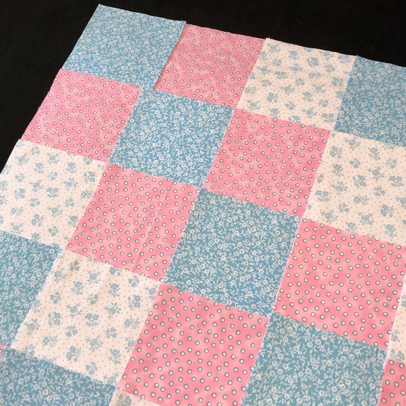 top middle /& back rag quilt kit approx 35x35 finished Pink white blue floral flannel 8 pre cut baby flannel quilt 75 girl quilt blocks