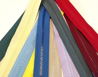 "Separating zipper, 8"", 10"", 14"", 16"", Molded Plastic Chunky Teeth SEPARATING Zippers, open ended zip, multi colors, coat jacket  bag zipper."