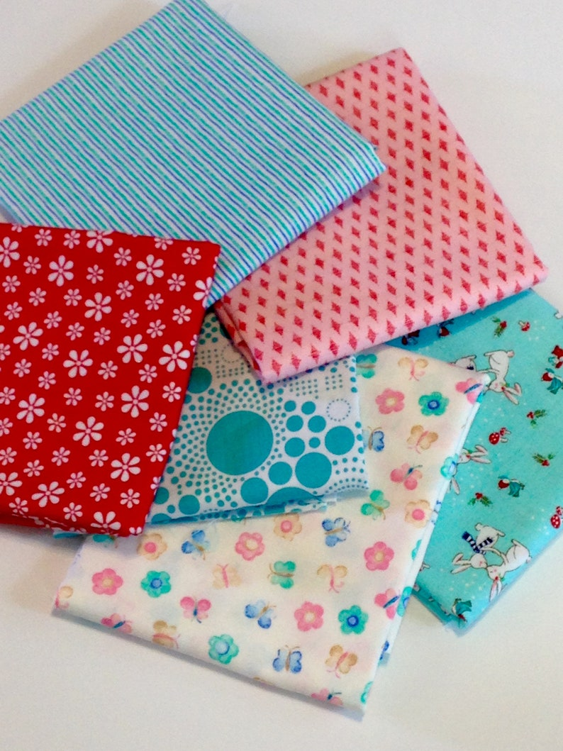 Fat quarters or 1/2 yard Fabric bundle, 6 different girl fabrics, aqua blue  red pink, butterfly, white daisy flower, bunny rabbit, quilting