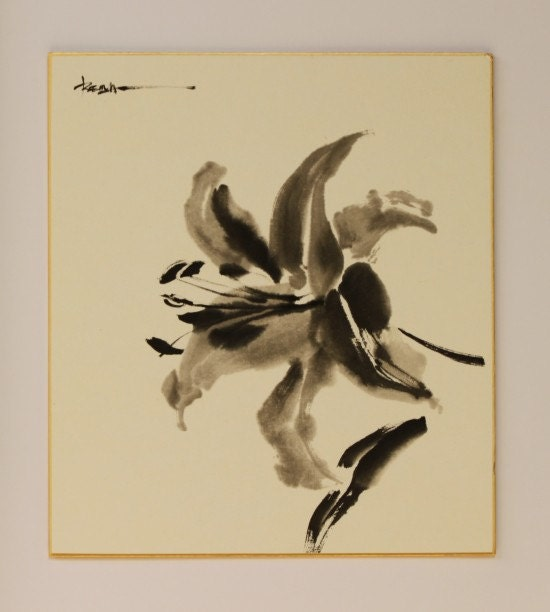 ink drawing japanese ink art flower drawing lily drawing etsy