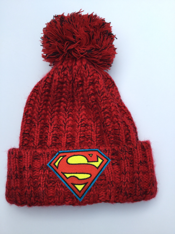 Superman Knit Hat Beanie Pom Pom Red Heather Knit Cuffed Super  5946770f980